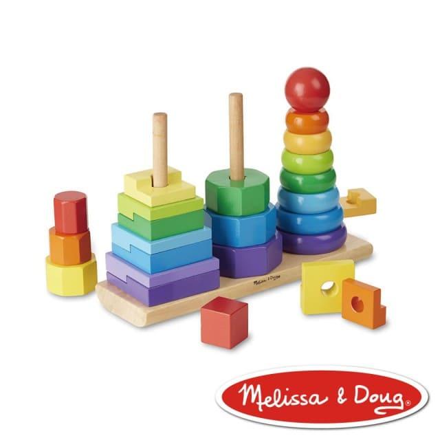 Melissa & Doug彩虹幾何疊疊樂玩具