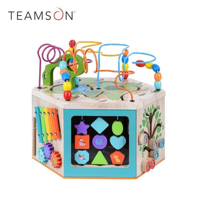 幼兒遊樂園木製七面益智繞珠玩具