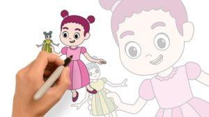 繪畫著色練習-小女孩手握洋娃娃