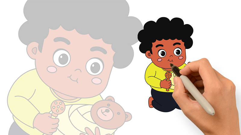 繪畫著色練習-小男孩正在玩扮家家酒