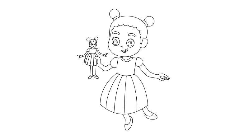 著色下載-女孩與洋娃娃