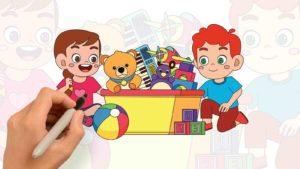 孩子們共享玩具一起遊戲 – 兒童著色繪畫遊戲(#1)