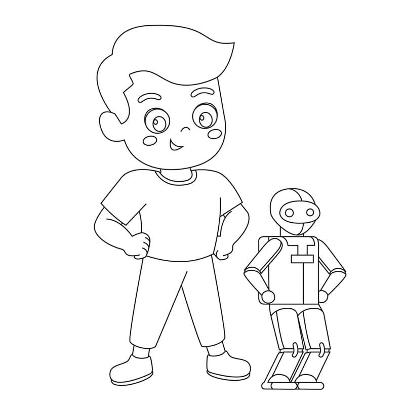 著色圖下載 - 男孩與機器人