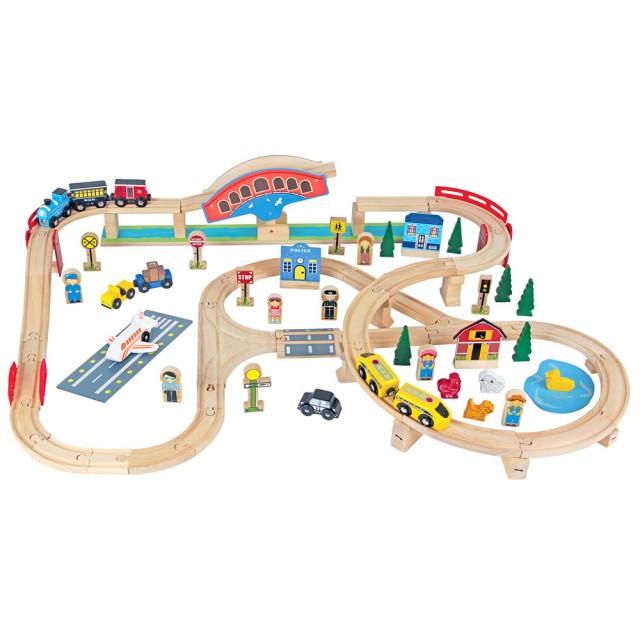 木製火車軌道玩具組